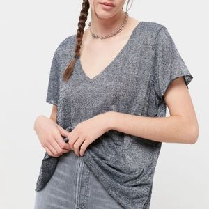 Project Social T Textured V Neck T Shirt in Gray